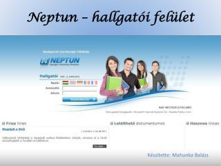 Neptun – hallgatói felület