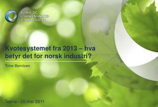 Kvotesystemet fra 2013 – hva betyr det for norsk industri?