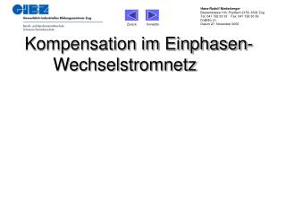 Kompensation im Einphasen-Wechselstromnetz
