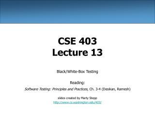 CSE 403 Lecture 13