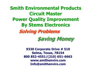 Smith Environmental Products Circuit Master Power Quality Improvement By Stems Electronics