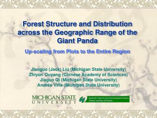 Forest Structure and Distribution across the Geographic Range of the Giant Panda Up-scaling from Plots to the Entire Reg