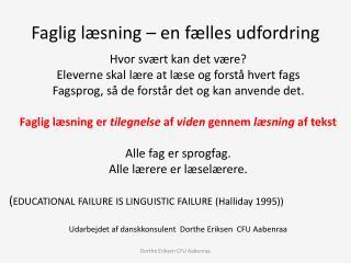 Faglig læsning – en fælles udfordring