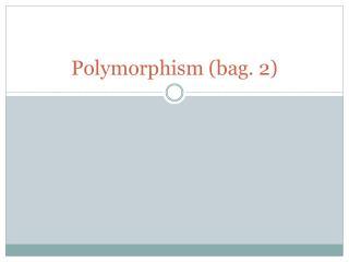 Polymorphism (bag. 2)