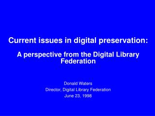 Current issues in digital preservation: A perspective from the Digital Library Federation