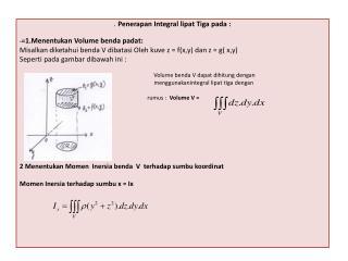 . Penerapan  Integral  lipat Tiga pada  : - = 1.Menentukan Volume  benda padat :