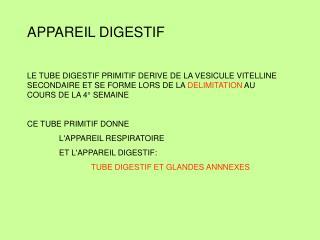 APPAREIL DIGESTIF  LE TUBE DIGESTIF PRIMITIF DERIVE DE LA VESICULE VITELLINE SECONDAIRE ET SE FORME LORS DE LA DELIMITAT