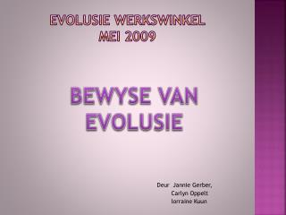 EVOLUSIE WERKSWINKEL MEI 2009