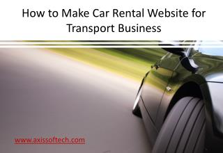 How to Make Car Rental Website for Transport Business
