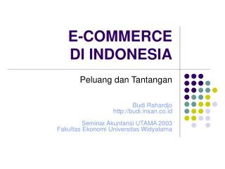 E-COMMERCE  DI INDONESIA