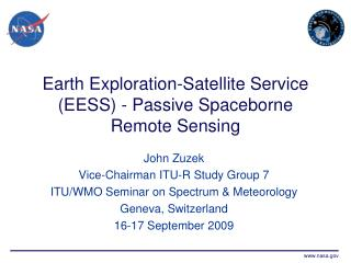 Earth Exploration-Satellite Service EESS - Passive Spaceborne Remote Sensing