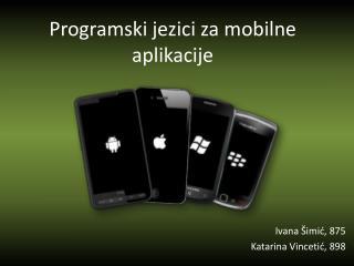 Programski jezici za mobilne aplikacije