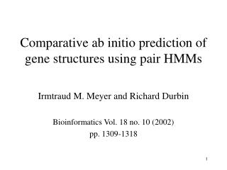 Comparative ab initio prediction of gene structures using pair HMMs