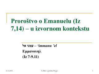 Proroštvo o Emanuelu (Iz 7,14) – u izvornom kontekstu