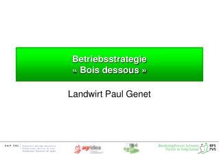 Betriebsstrategie  «Bois dessous »