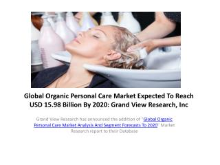 Organic Personal Care Market to 2020 � Industry Survey