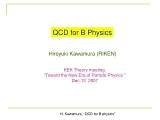 QCD for B Physics