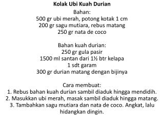 Kolak Ubi Kuah Durian