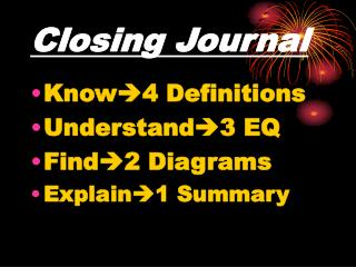 Closing Journal