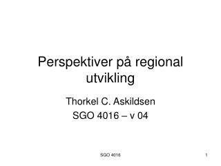 Perspektiver på regional utvikling