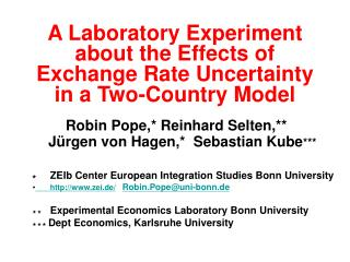 A Laboratory Experiment about the Effects of Exchange Rate Uncertainty  in a Two-Country Model