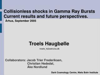 Collisionless shocks in Gamma Ray Bursts Current results and future perspectives.