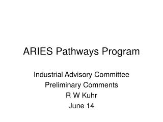 ARIES Pathways Program
