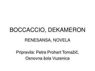 BOCCACCIO, DEKAMERON