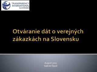 Otv áranie  dát o verejných zákazkách na Slovensku