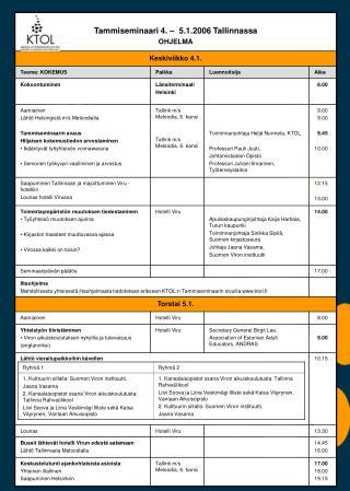Tammiseminaarin 2006 ohjelma