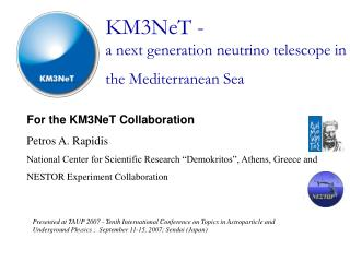 KM3NeT - a next generation neutrino telescope in  the Mediterranean Sea