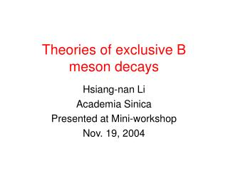 Theories of exclusive B meson decays