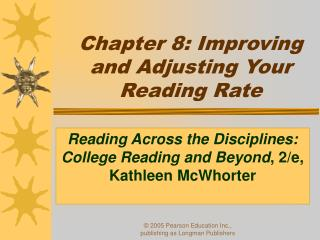 Chapter 8: Improving and Adjusting Your Reading Rate