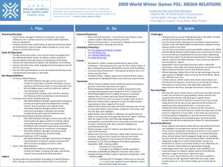 2009 World Winter Games PDL:  MEDIA RELATIONS