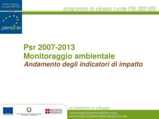 Psr 2007-2013 Monitoraggio ambientale