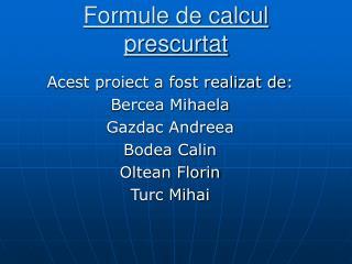 Formule de calcul prescurtat