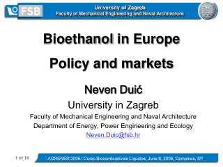 University of Zagreb  Faculty of Mechanical Engineering and Naval Architecture