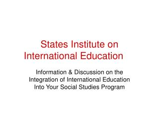 States Institute on  International Education