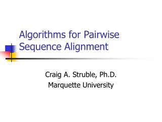 Algorithms for Pairwise Sequence Alignment