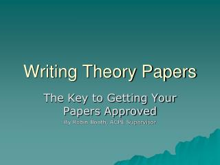 Writing Theory Papers