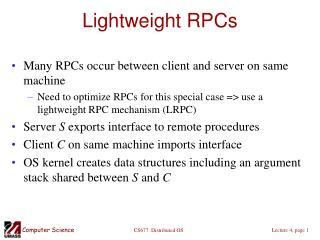 Lightweight RPCs