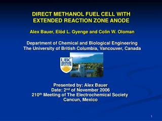 DIRECT METHANOL FUEL CELL WITH EXTENDED REACTION ZONE ANODE
