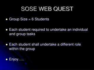SOSE WEB QUEST