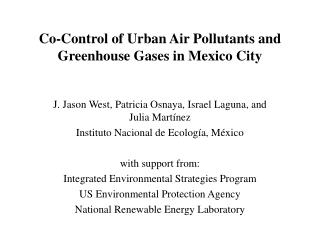Co-Control of Urban Air Pollutants and Greenhouse Gases in Mexico City