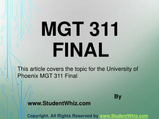 MGT 311 Final Exam