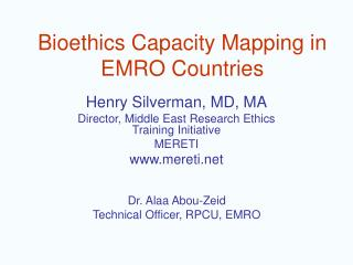 Bioethics Capacity Mapping in EMRO Countries