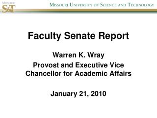 Faculty Senate Report
