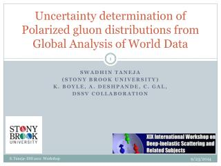Uncertainty determination of Polarized gluon distributions from   Global Analysis of World Data