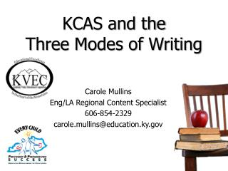 KCAS and the  Three Modes of Writing