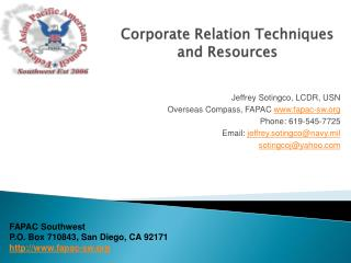 Corporate Relation Techniques and Resources